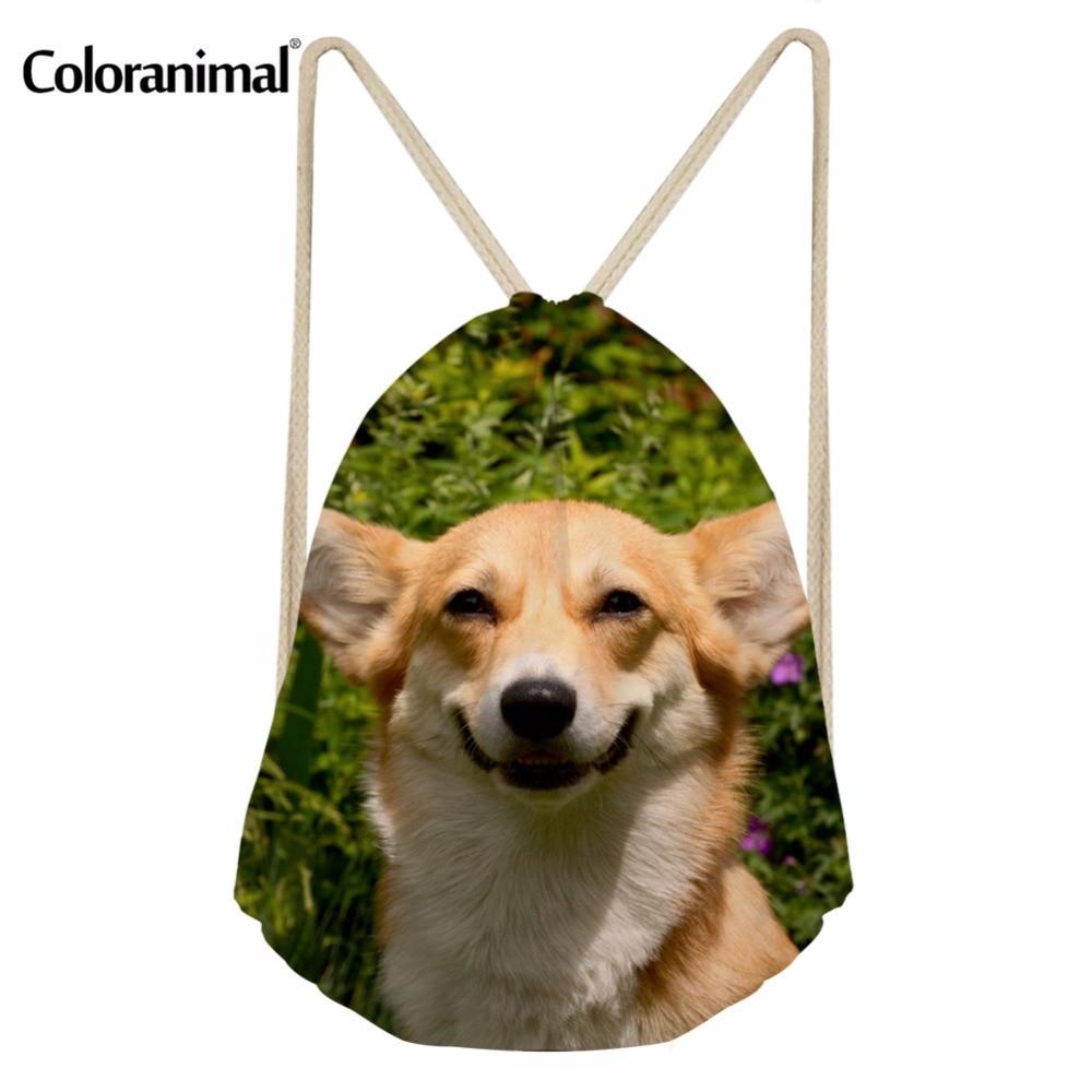 Coloranimal Cute Pet Dog Women Men Small Backpack Drawstring Bags 3D Welsh Corgi Pattern Youth Girl Boy Schoolbags Beach Bagpack