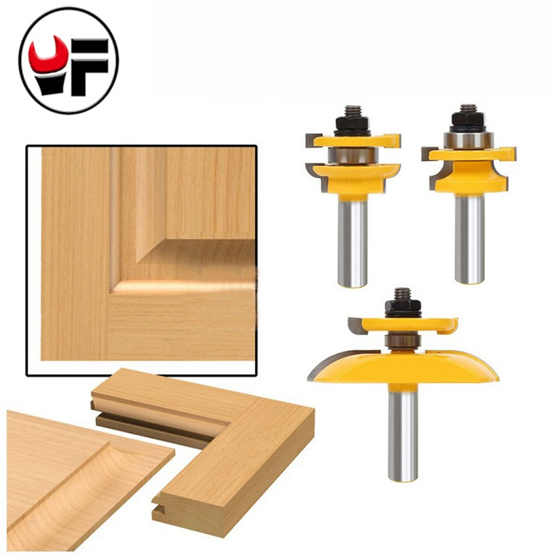 3Pcs 1/2'' Shank Rail & Stile Ogee Blade Cutter Panel Cabinet Router Bits Set Milling cutter Power Tools Door knife Wood Cutter 2pcs set rail stile router bit shaker 1 2 shank cnc engraving carving milling cutter bits woodworking tools