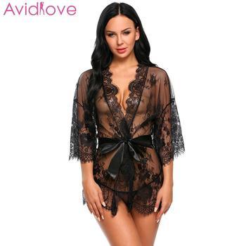 c6d1875fa8 Avidlove mujeres trajes Sexy Lencería erótica Babydoll Sexy ropa interior  cinturón Robe vendaje transparente con Tanga de encaje malla