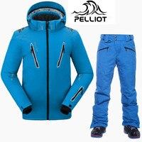 Пелльо Марка Одежда высшего качества лыжный костюм Для мужчин супер теплый Водонепроницаемый Лыжная куртка Сноубординг костюмы Зимние дыш