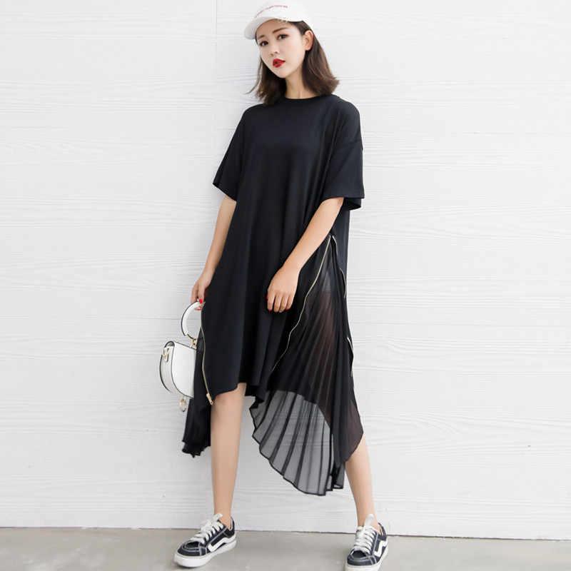 Johnature 2020 lato nowy luźne dorywczo stałe kolor Patcwork Draped szyfonu kobiety suknie moda nieregularne sukienka z krótkim rękawem