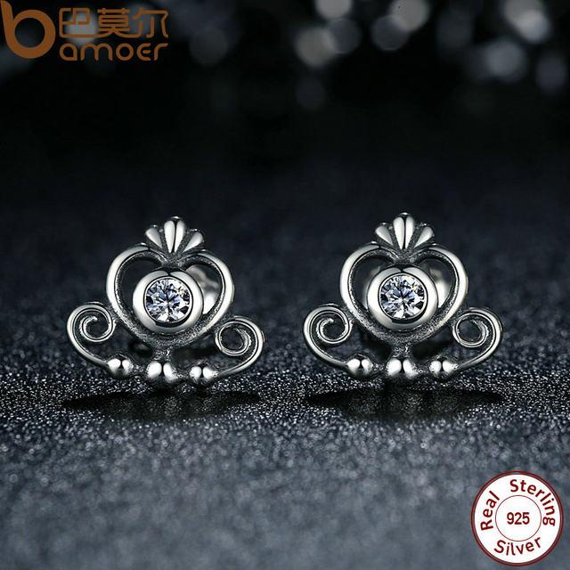 Bamoer 925 Sterling Silver My Princess Tiara Clear Cz Heart Crown Stud Earrings For Women Wedding Fine Jewelry Pas450
