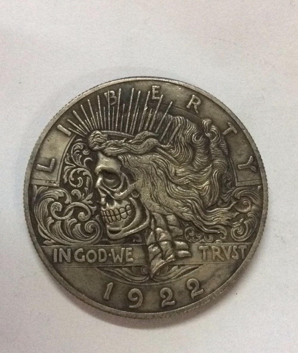 1922 Peace One Dollar Zombie Skull Item 12# Hobo Nickel Coins