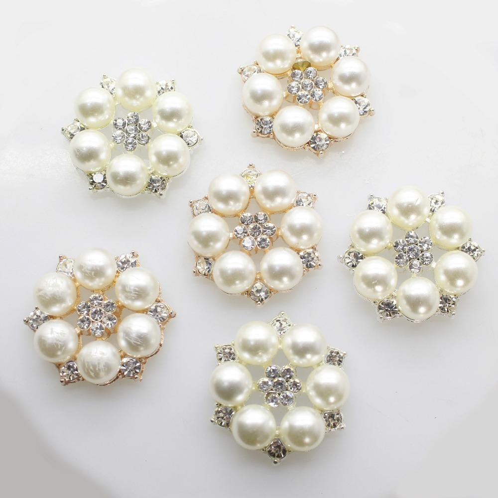 ZMASEY 10pcs/set Flower Rhinestones Buttons Pearl button