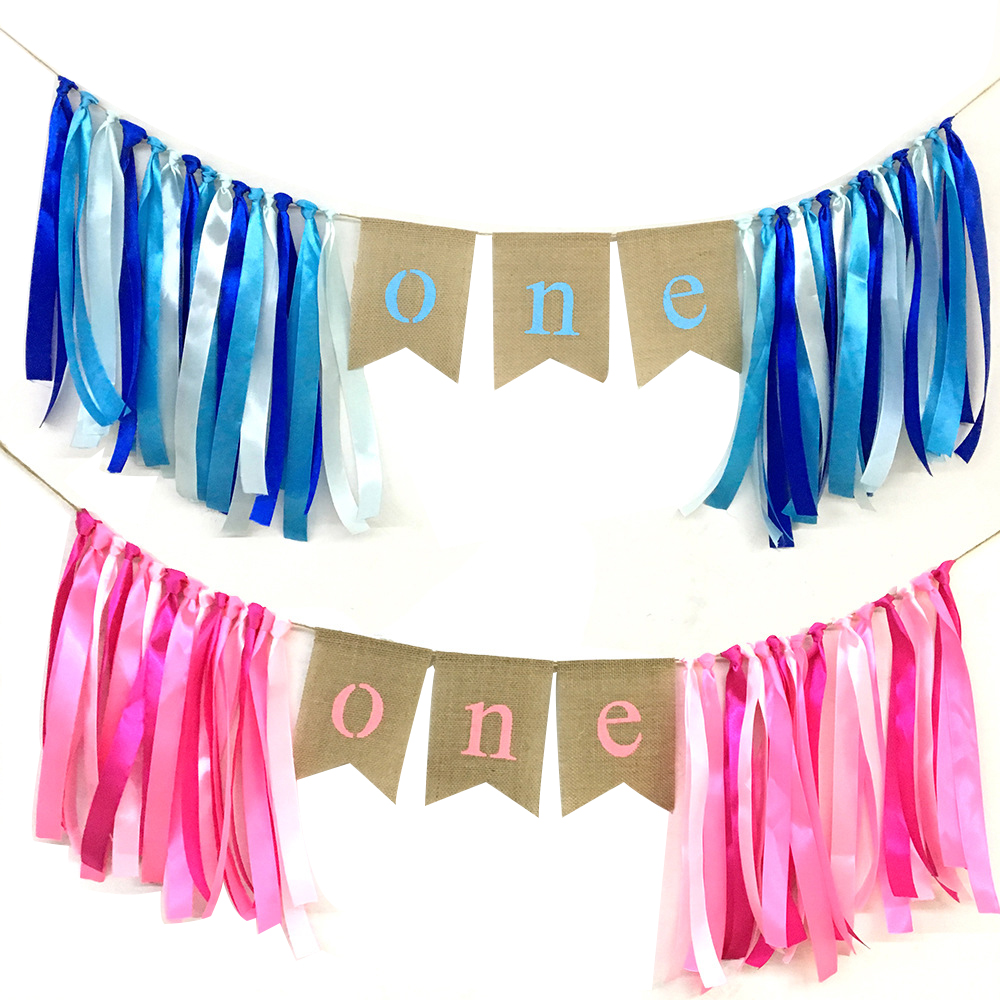 First Birthday Party Decorations One Burlap Highchair Banner for Boy Girl Pink Blue Baby ...