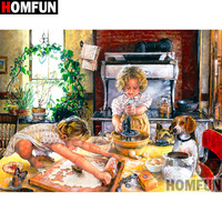 "HOMFUN 5D Needlework Diy Diamond Painting Cross Stitch ""Girl kitchen"" Diamond Embroidery Square Round Drill Crafts A15494"