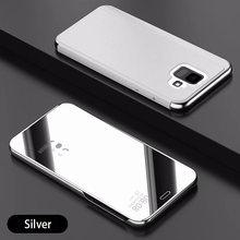 Espejo inteligente Flip para Samsung A7 2018 A6 A8 más J2 J4 J6 más J8 2018 cubierta de cuero para A3 A5 A7 J3 J5 J7 2016 de 2017 casos