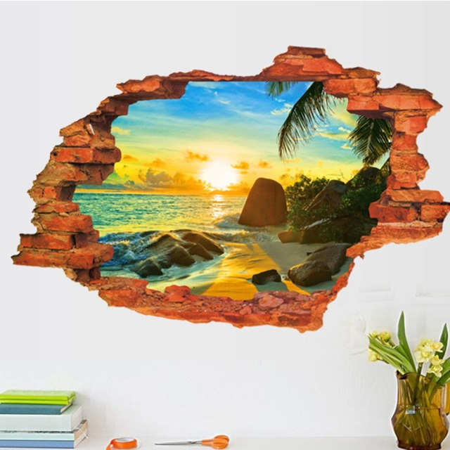 3D Broken Wall Sunset Scenery Seascape Island Coconut Trees Household Adornment | online brands