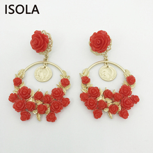 Фотография ISOLA Classic French style Elaborate Charming Red Flower Hanging On Circle With Red Resin Flowers Statement Baroque Earrings