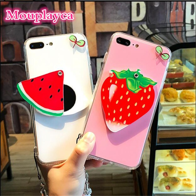 Summer Fruit Strawberry mirror case phone strap for iPhone7 case 6plus soft Silicon watermelon lemon phone case for iphone7plus