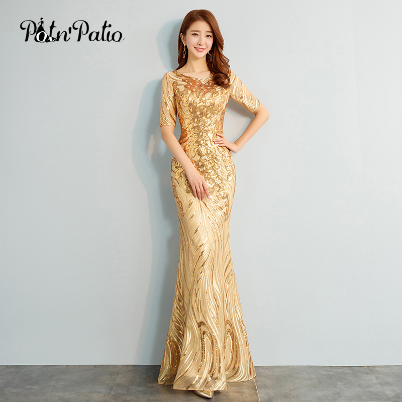 2018 New Elegant O neck Half Sleeves Gold Sequined Mermaid Evening Dresses Long Plus Size Special