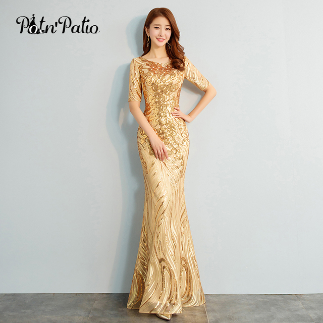 2018 New Elegant O-neck Half Sleeves Gold Sequined Mermaid Evening Dresses  Long Plus Size Special Occasion Dresses afb609dc45d2