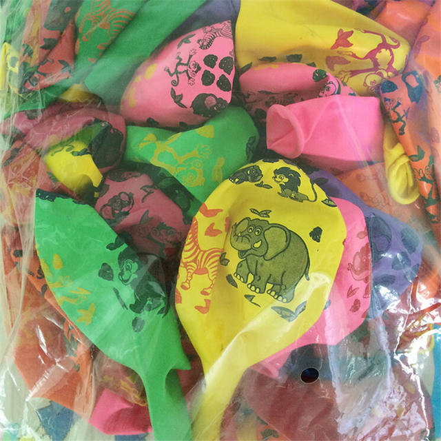 Animals Printed Latex Multicolor Balloon Set 10 Pcs