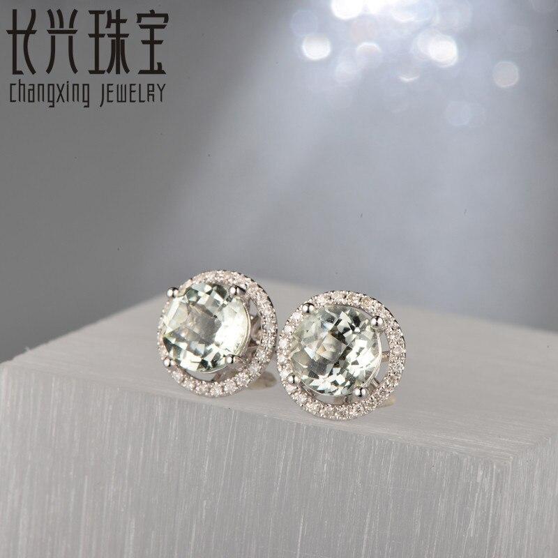 Caimao Jewelry 18KT White Gold 6x8mm Oval Cut 2.16ct Pink Tourmaline & 0.30ct Diamond Engagement Earrings free shipping 4