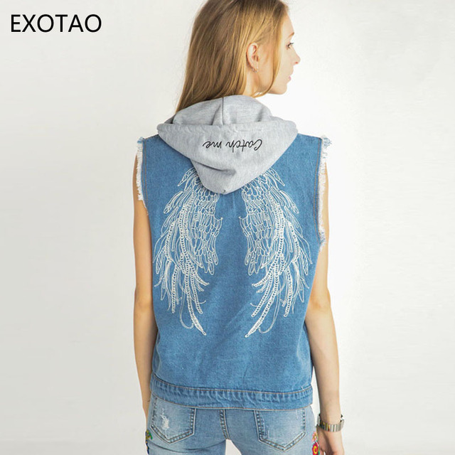 Online Shop EXOTAO Casual Hooded Denim Jacket Women Single ...