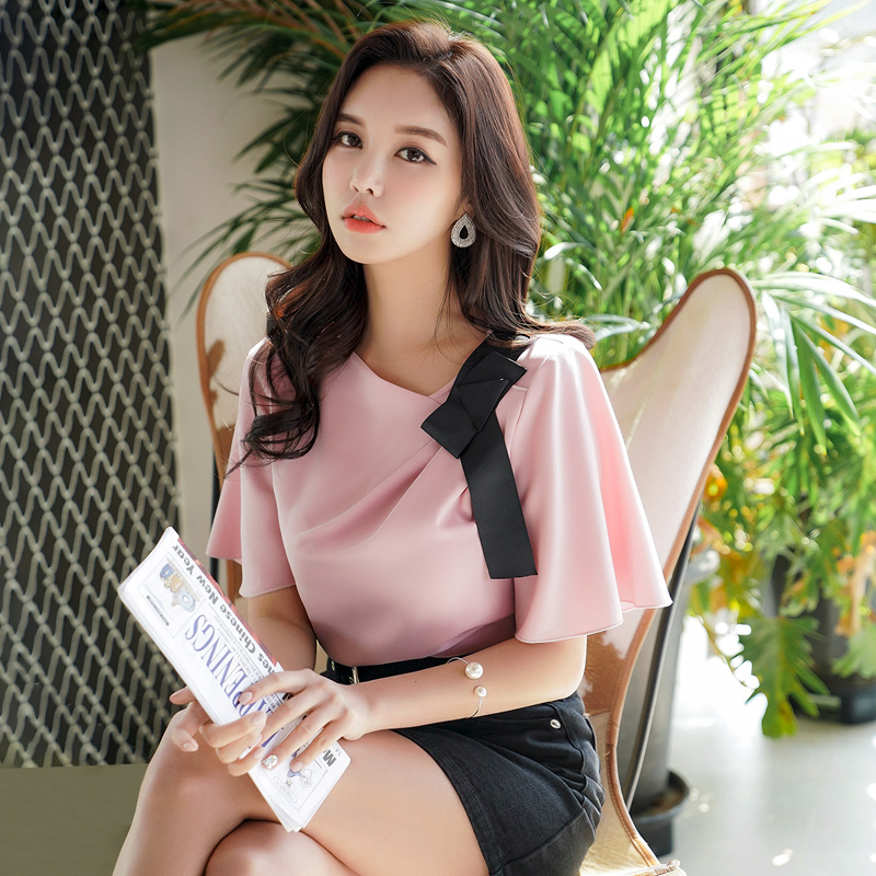 Dabuwawa New Summer Pink Bow Chiffon Blouse Women Ladeis Elegant Pleated Solid Shirts Tops D18BST382