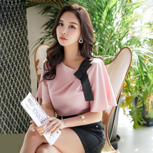 Dabuwawa New Summer Pink Bow Chiffon Blouse Women Ladeis Elegant Pleated Solid Shirts Tops D18BST382
