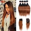 Дешевые Перуанский Девственные Волосы Два Тона 4 Bundle С Закрытием Ombre 1B 30 Прямой Человеческих Волос С Кружевом Закрытие И Ребенка волос
