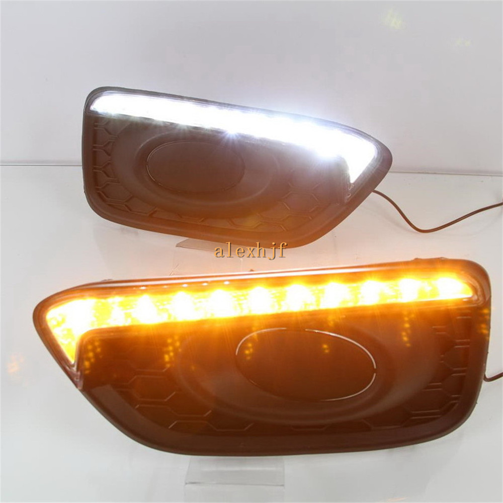 July King LED Daytime Running Lights DRL Case for Honda Brio 2016+, LED Front Bumper Fog Lamp With Yellow Turn Signal Lights for opel astra h gtc 2005 15 h11 wiring harness sockets wire connector switch 2 fog lights drl front bumper 5d lens led lamp