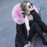 Зимняя куртка Для женщин 2018 Роскошная марка большой натуральный мех енота меховой воротник пальто с капюшоном толстые теплые Лисий вкладыш