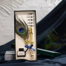 Павлин Ручка перьевая Европейская винтажная металлическая перьевая ручка чернильный пишущий Квилл ретро перо для скрапбукинга авторучка подарок на день рождения