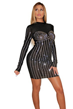 Diamonds Sheer Mesh Bodycon Dress Women Evening Party Tight Clubwear Striped Long Sleeve Sheath Mini Female Performance Outfits adogirl diamonds sheer mesh bodycon club dress mock neck long sleeve sheath mini performance party dresses women fashion outfits
