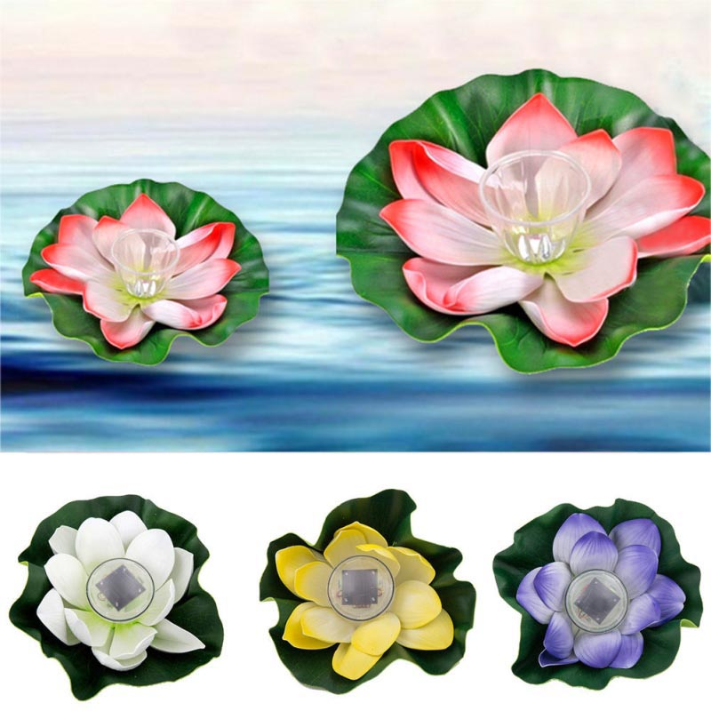 New Lotus Flower Shape Solar Power Light Water Floating Outdoor Waterproof Energy Saving LED Lamp For Pool Pond Garden 8