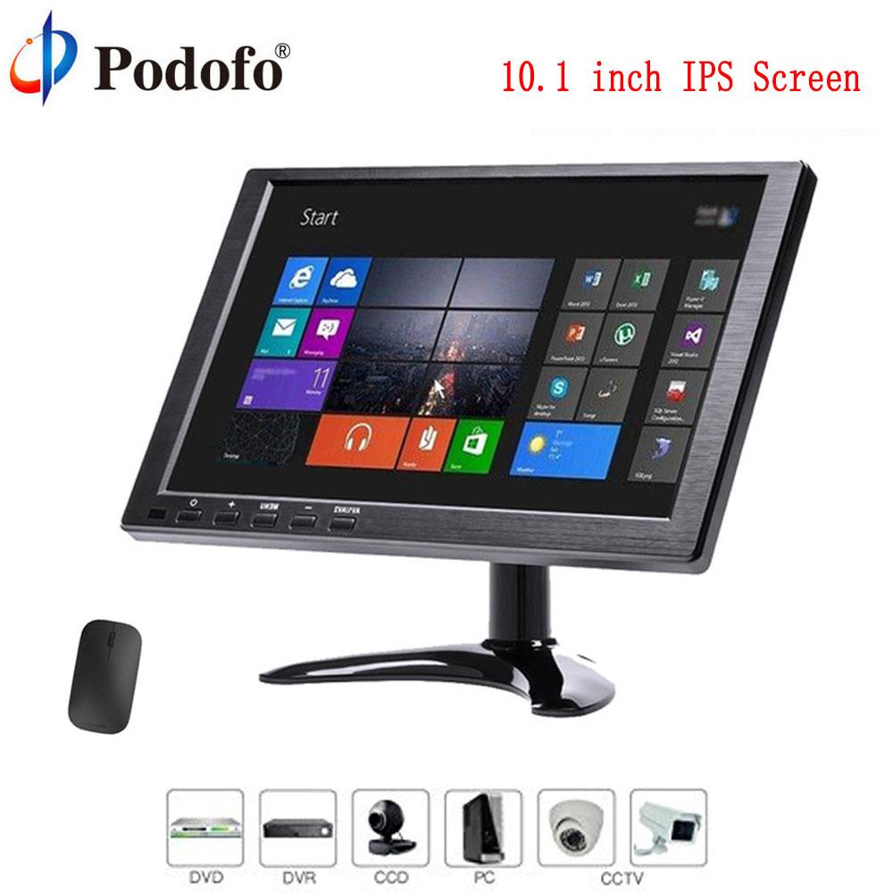 Podofo Car Monitor 10.1 1280 x 800 HD IPS Screen HDMI VGA AV Car Headrest Monitor TFT LCD DVD Player USB SD Port Parking System original genuine ips lcd b070ew01 v 0 v 1 hd 1280 800