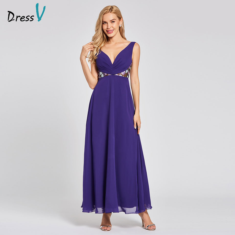 Dressv regency long   evening     dress   cheap v neck sleeveless a line empire wedding party formal   dress   lace   evening     dresses