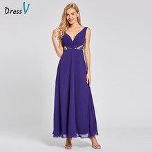 Dressv regency uzun gece elbisesi ucuz v boyun kolsuz bir çizgi İmparatorluğu gelinlik parti resmi elbise dantel abiye
