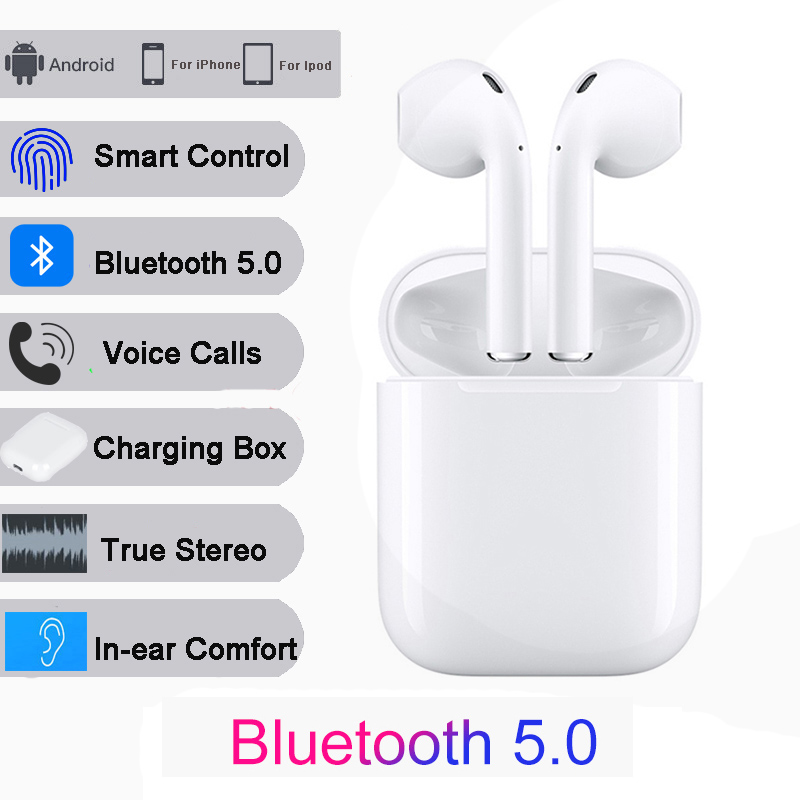 $31.73 i12 TWS Bluetooth 5.0 Wireless Earphones Stereo Bluetooth Headset with Charging Box For iPhone 6s X Huawei Xiaomi mi9 headset