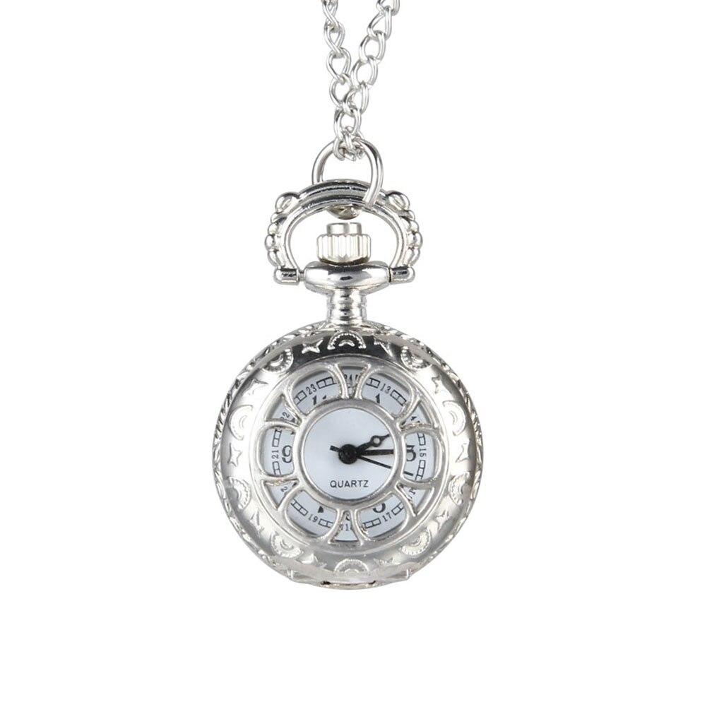 Quartz Pocket Watch Alloy Chain Hollow Out Flower Flip Cover Vintage Pendant Watches For Women TY53