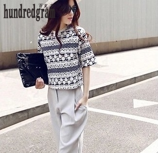 Summer new fashion suit short jacket short - sleeved shirt casual pants two - piece suit-dod40