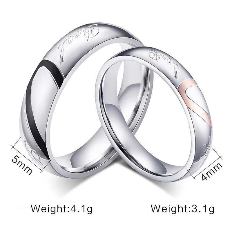 חתונת טבעת כסף צבע נירוסטה טבעת חצי לב זוג אירוסין טבעת תכשיטים לנשים וגברים