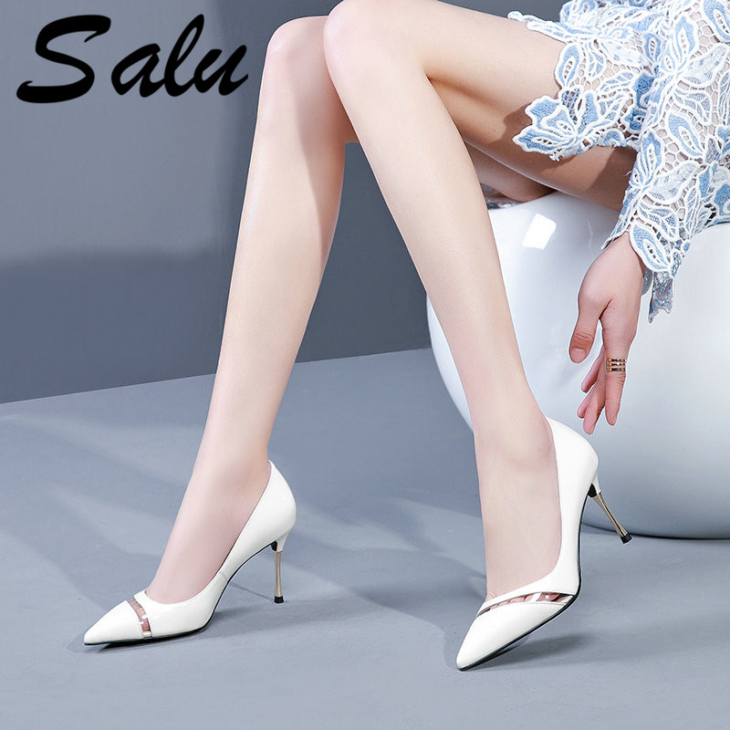 Salu nouvelles chaussures à talons hauts femme pompes chaussures de fête mode Sexy femmes chaussures classique noir blanc talons hauts