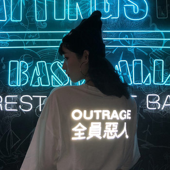 Trend-setter 2019 여름 캐주얼 빛나는 편지 t 셔츠 여성 harakuju 반소매 티셔츠