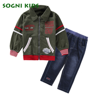 SOGNI KIDS Boys Clothing Set 2017 Spring Coat Jeans 2 Pieces Set Casual Kids Set For