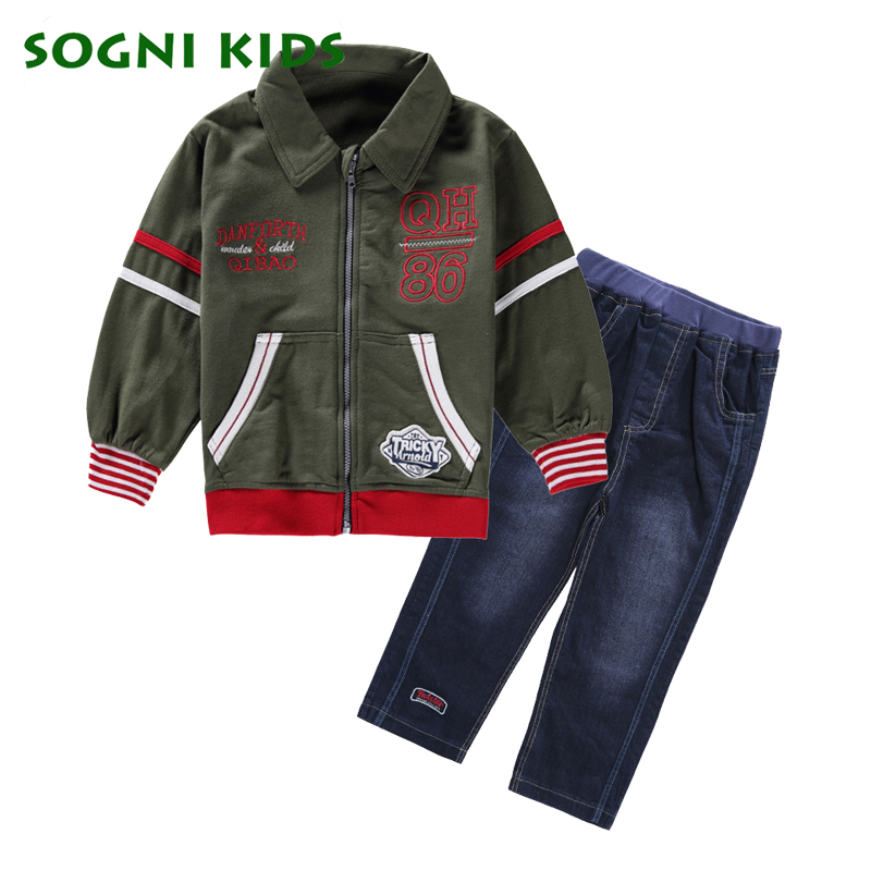 Boys Girls Clothing Set Children Kids Sports Suit For Toddler Jeans Cotton Casual Baby Clothes 2018 New Brand Spring Tracksuit 2016 new winter spring autumn girls kids boys bunnies patch cotton sweater comfortable cute baby clothes children clothing