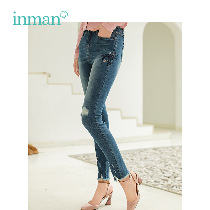 INMAN Winter High Waist Show Fitness Embroidery Women Fur Tight Shape Small Leg Jeans Pants