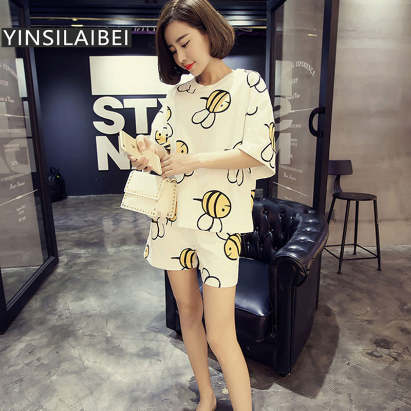 Bee Print Cute Ladies Summer Short Sleeve Pajamas Set with Shorts for Women Female Sleepwear Set Home Clothing Plus Size #45 Пижама