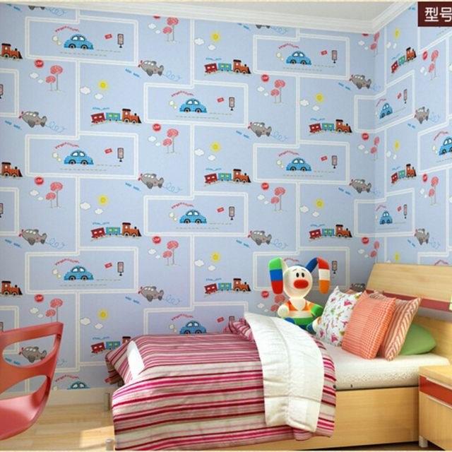 Beibehang cartoon fashion to hd children room wallpaper children bedroom blue green car plane 3d wallpaper papel de parede