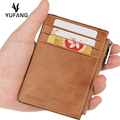 YUFANG Genuine Leather Male Money Clip Mini Clutch Money Bag Soft Solid Color Business Change Wallet Large Capacity Card Case