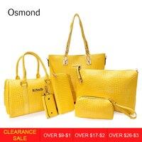 Osmond 2017 New 6pcs/Sets Fashion Women Handbag Set PU Leather Ladies Shoulder Bags Tote Crossbody Bag Free Shipping
