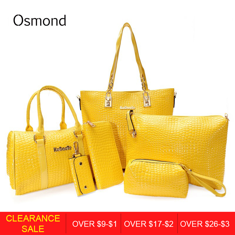 Osmond 2017 New 6pcs/Sets Fashion Women Handbag Set PU Leather Ladies Shoulder Bags Tote Crossbody Bag Free Shipping osmond women 6pcs bag sets crocodile women leather handbag shoulder bag for women messenger bags clutch and card pack tote bag