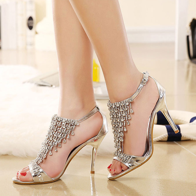 Lucyever 2018 Summer Womens Luxury Rhinestones Sandals Sexy Elegant Thin High Heels Wedding Party Shoes Woman Gold Silver