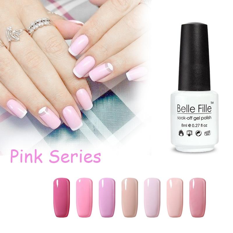 UV Nail Gel Polish BELLE FILLE Angel Pink Gel Nail Polish ...