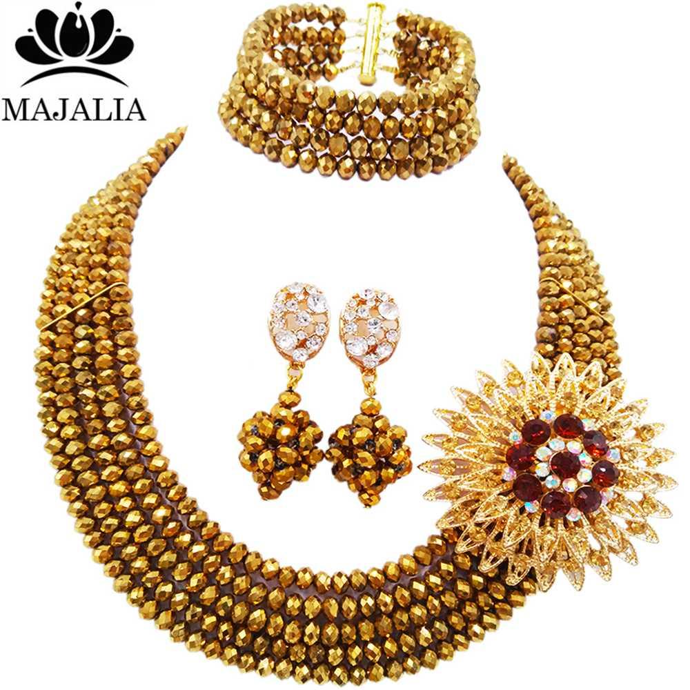 a0dc278f6638 Moda Nigeria boda Africana cuentas de joyería conjunto cristal amarillo  collar de perlas de plástico Juegos de joyería para novia envío libre  vv-085USD ...