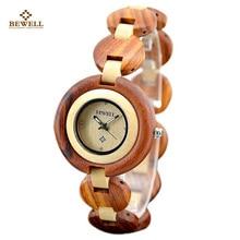 Bewell 2017 أسود الخشب أزياء ماركة امرأة الساعات للبنات كوارتز المعصم ووتش هدية العام الجديد عارضة wtach مع صندوق 010A