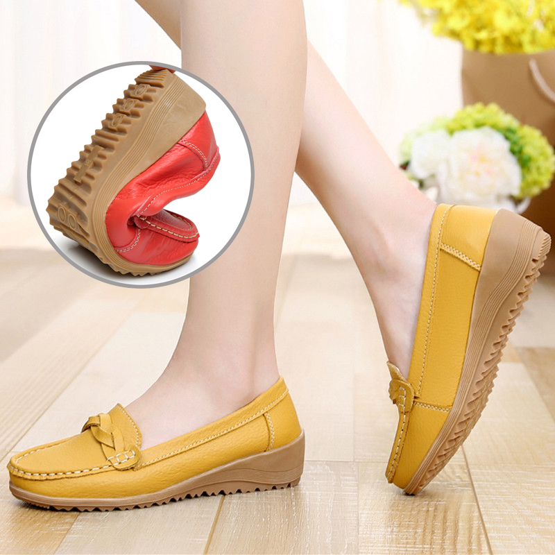 Autumn Spring Genuine Leather Shoes Anti Slip Soft Bottom Middle aged Shoes Big Size Casual Leather