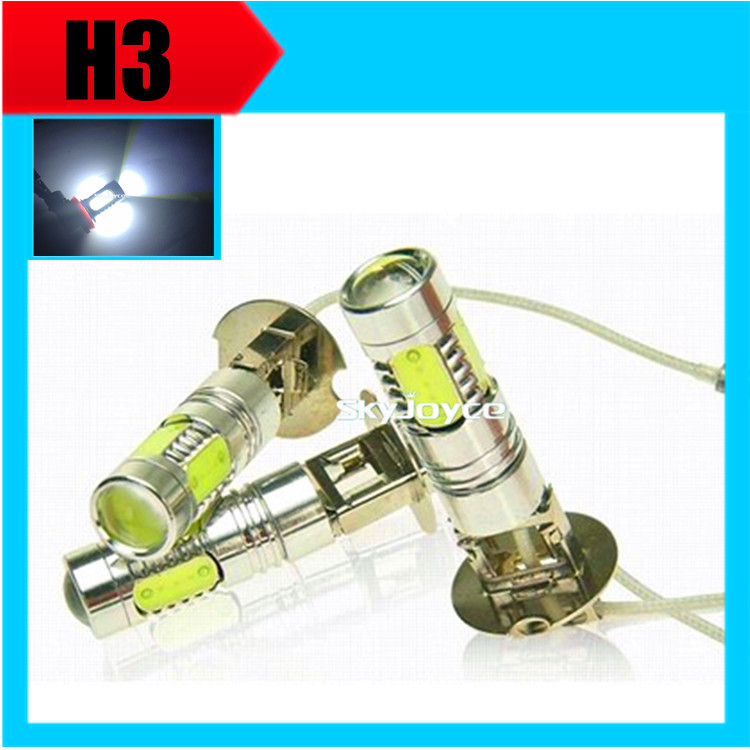 2X parking H3 led high power led fog lamp bulb headlight 7.5W 12V xenon white 6500K led conversion light kits Accessories high quality h3 led 20w led projector high power white car auto drl daytime running lights headlight fog lamp bulb dc12v